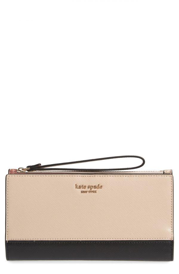 Women's Kate Spade New York Spencer Continental Leather Wristlet - Beige