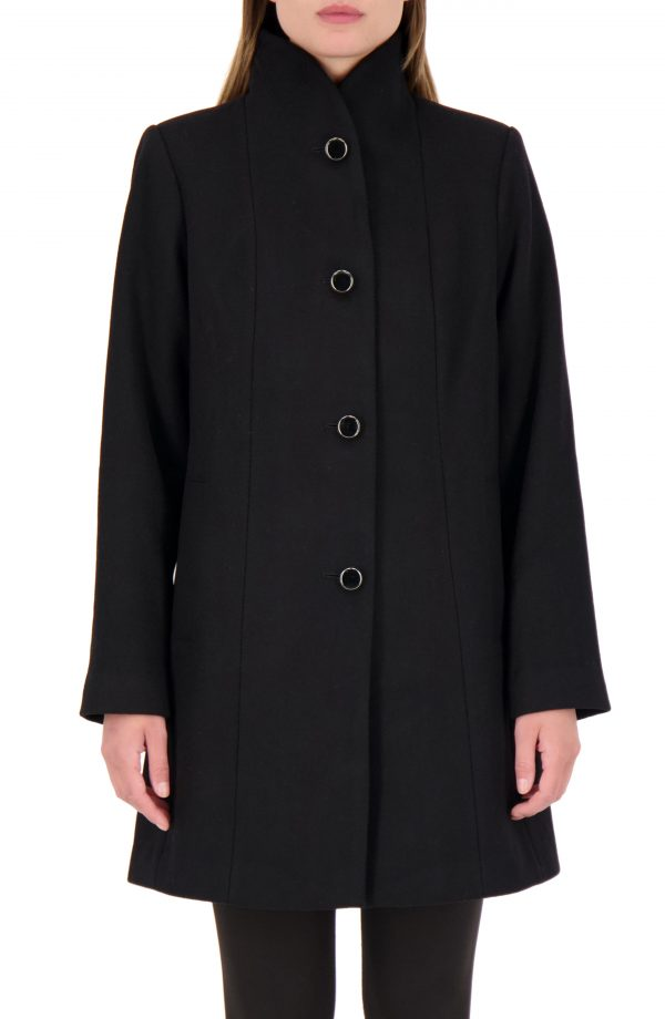 Women's Kate Spade New York Wool Blend Twill Coat, Size X-Small - Black