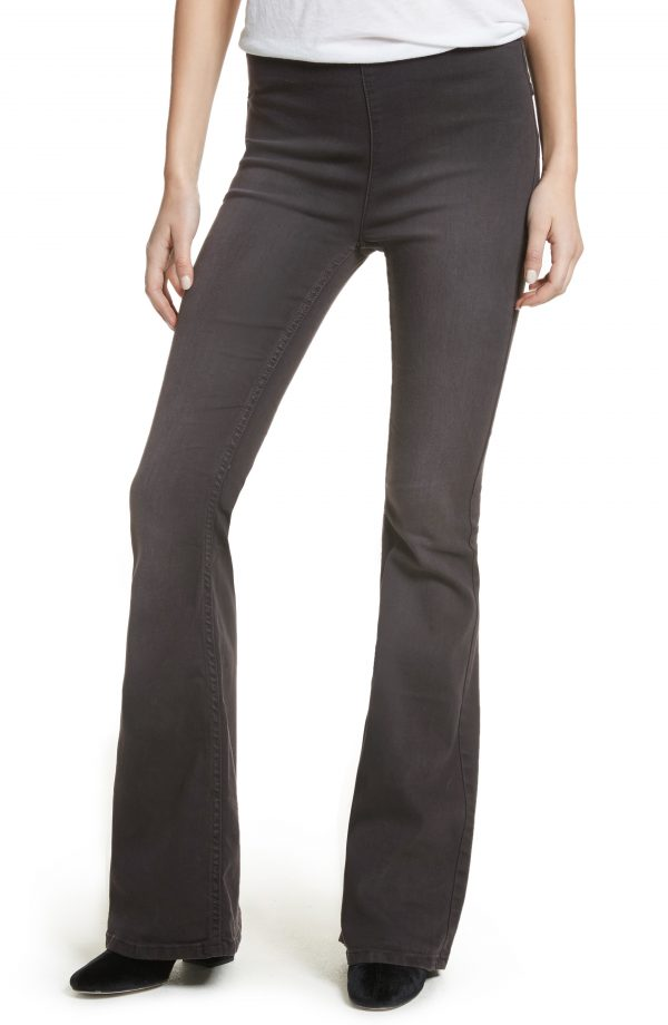 Women's We The Free By Free People Gummy Pull-On Flare Leg Jeans, Size 30 - Black