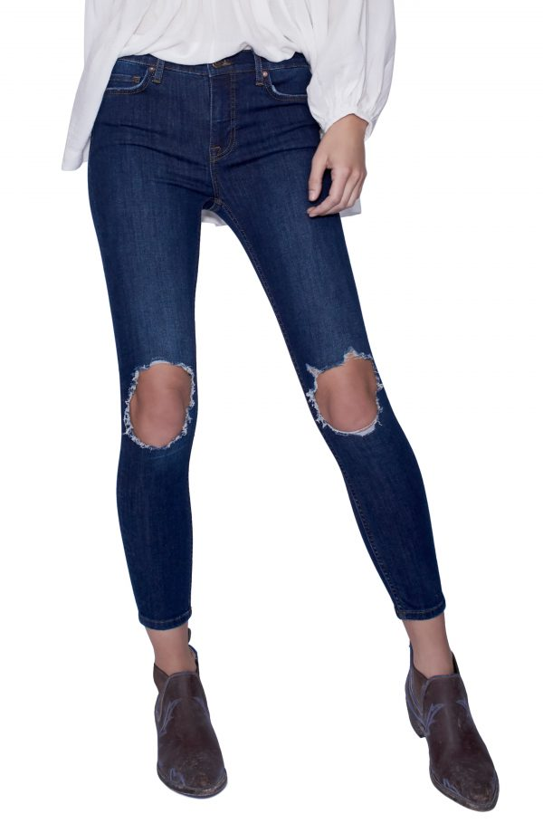 Women's We The Free By Free People High Rise Busted Knee Skinny Jeans, Size 29 - Blue