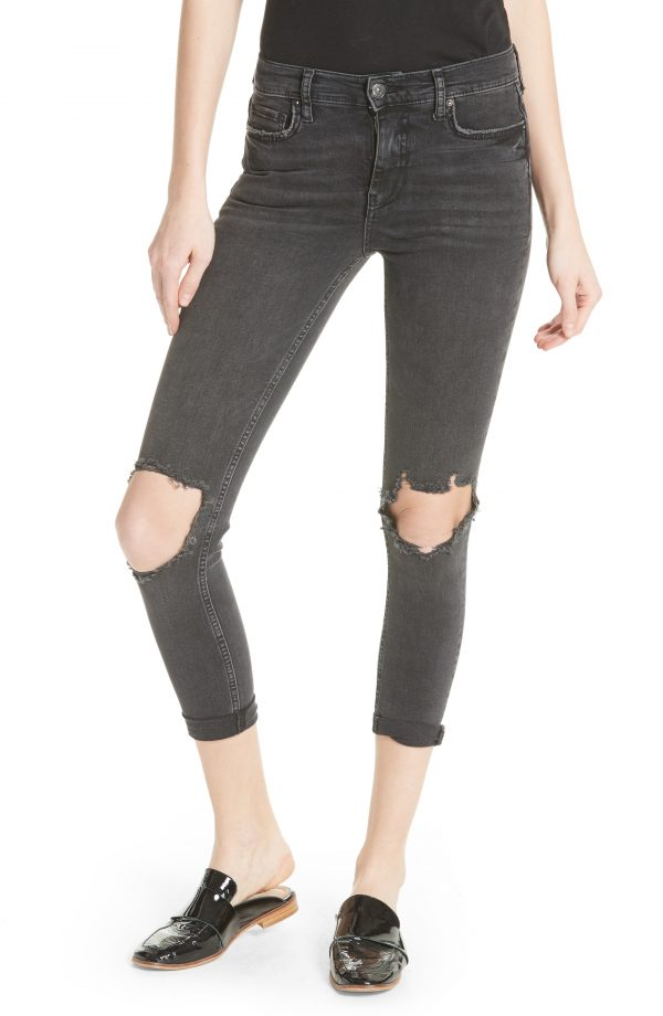 Women's We The Free By Free People High Waist Ankle Skinny Jeans, Size 27 - Black