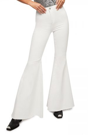 Women's We The Free By Free People Just Float On High Waist Flare Leg Pants, Size 28 - White