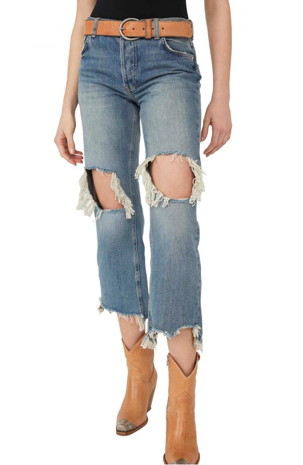 Women's We The Free By Free People Maggie Ripped Crop Straight Leg Jeans, Size 26 - Blue