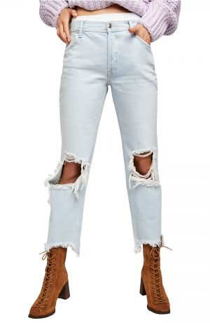 Women's We The Free By Free People Maggie Ripped Crop Straight Leg Jeans, Size 27 - Blue