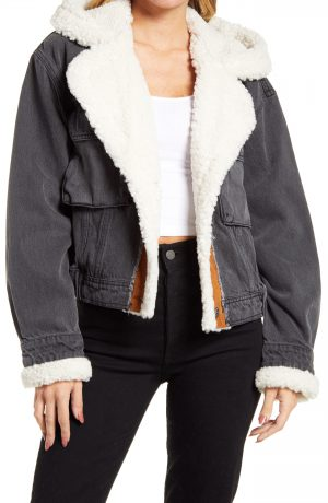 Women's We The Free By Free People Perry Hooded Denim Jacket With Faux Shearling Trim, Size Small - Black