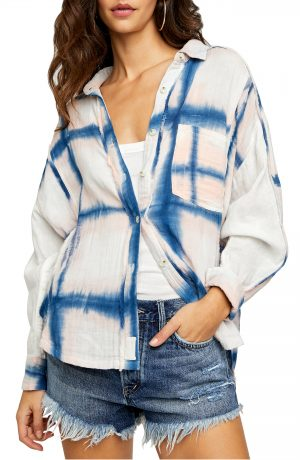 Women's We The Free By Free People Washed Away Plaid Button-Up Shirt, Size X-Small - White