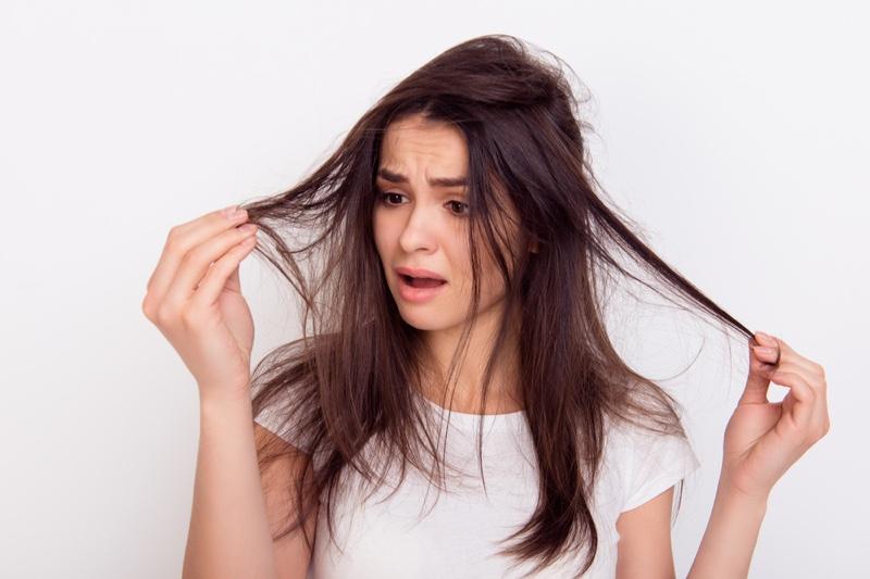 Worried Woman Damaged Thin Hair