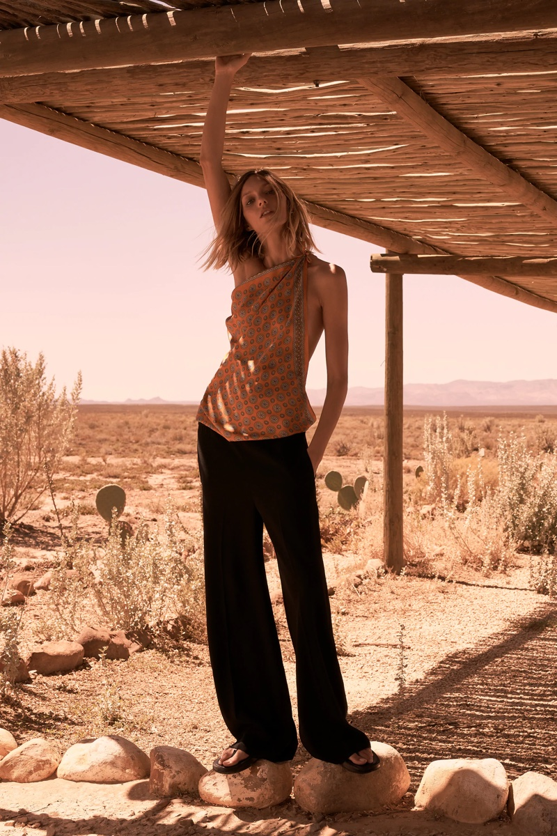 Anja Rubik shows off bohemian style with Zara's spring-summer 2021 collection.
