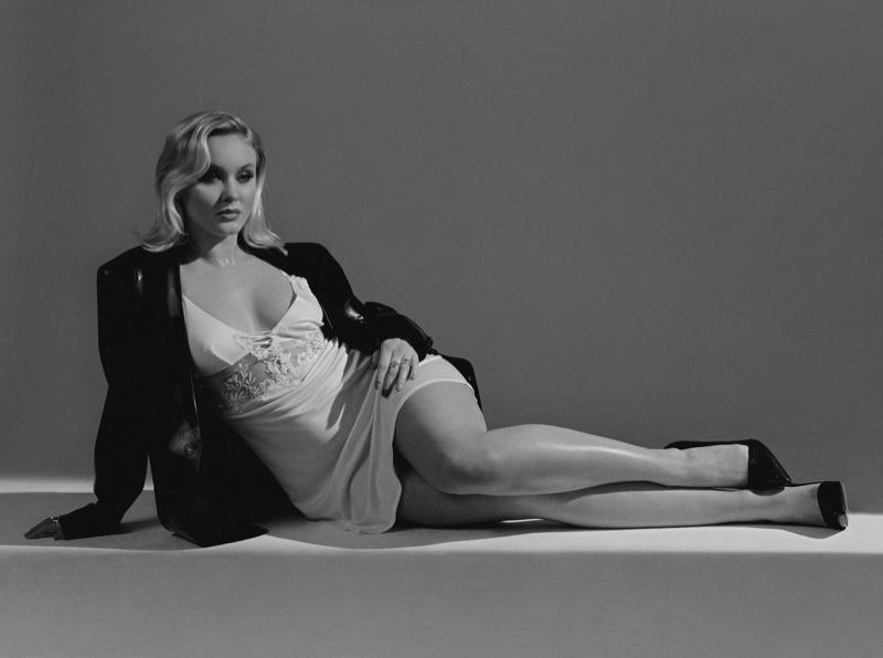 Striking a pose, Zara Larsson wears La Perla slip with Christian Louboutin shoes.
