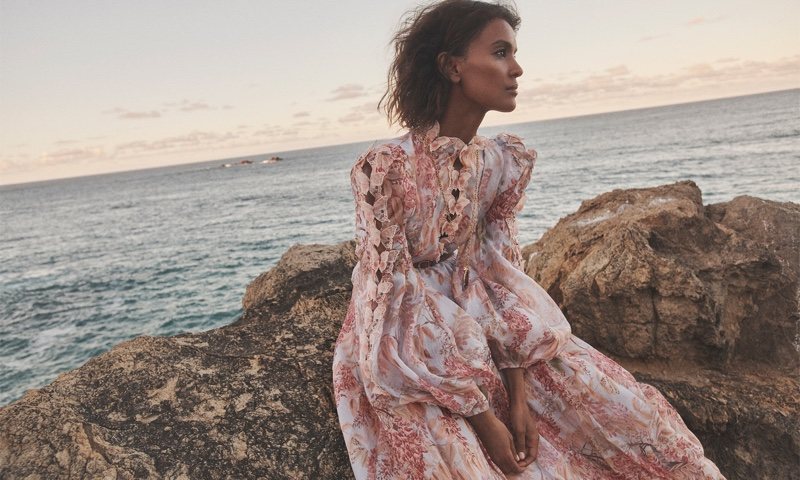 Liya Kebede wears Zimmermann Botanica butterfly gown from brand's spring 2021 collection.