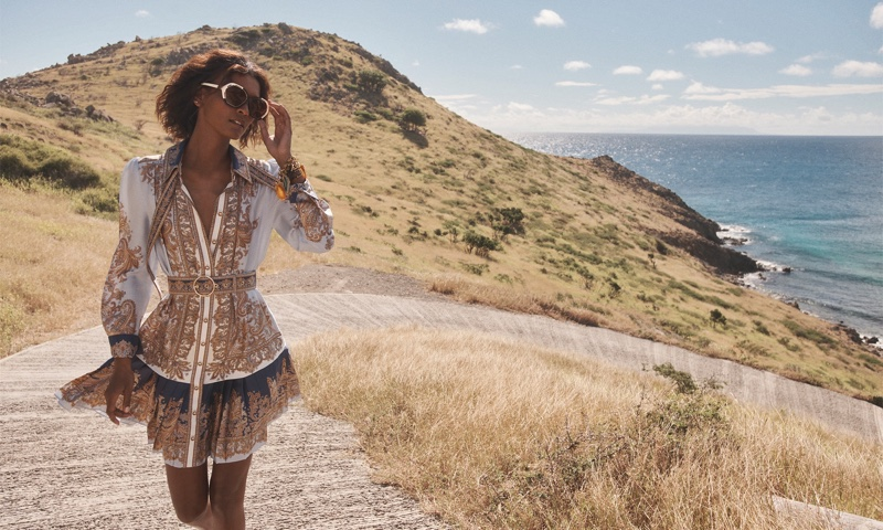 Liya Kebede poses in St. Barts for Zimmermann spring 2021 campaign.