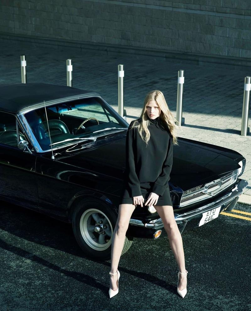 Model Lara Stone poses for Alessandro Dell'Acqua X Elena Mirò campaign.