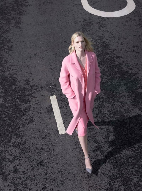Looking pretty in pink, Lara Stone poses for Alessandro Dell'Acqua X Elena Mirò campaign.