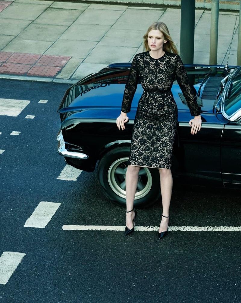 Posing next to a car, Lara Stone appears in Alessandro Dell'Acqua X Elena Mirò campaign.