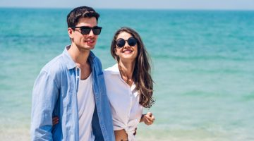 Attractive Couple Walking Beach Romantic Casual Style