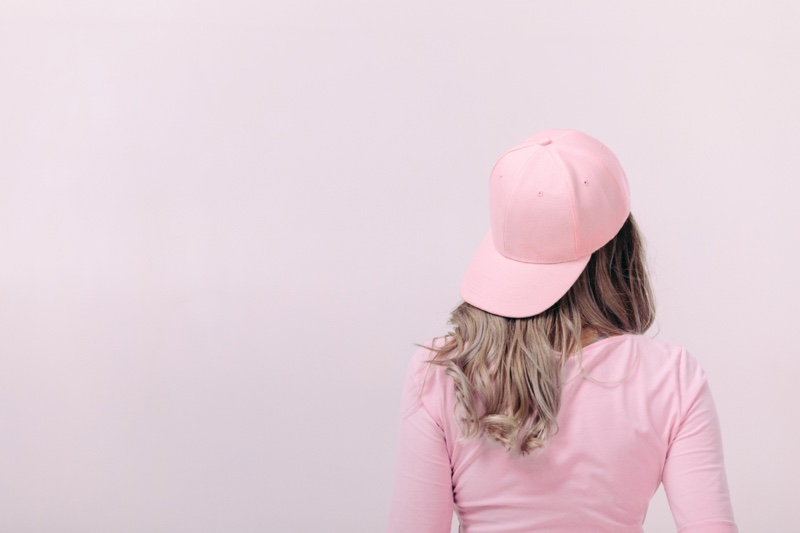 Back Woman Pink Baseball Cap Top