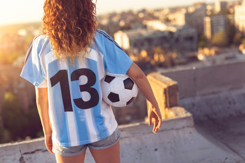 Back Woman Sports Jersey Soccer Ball Number 13