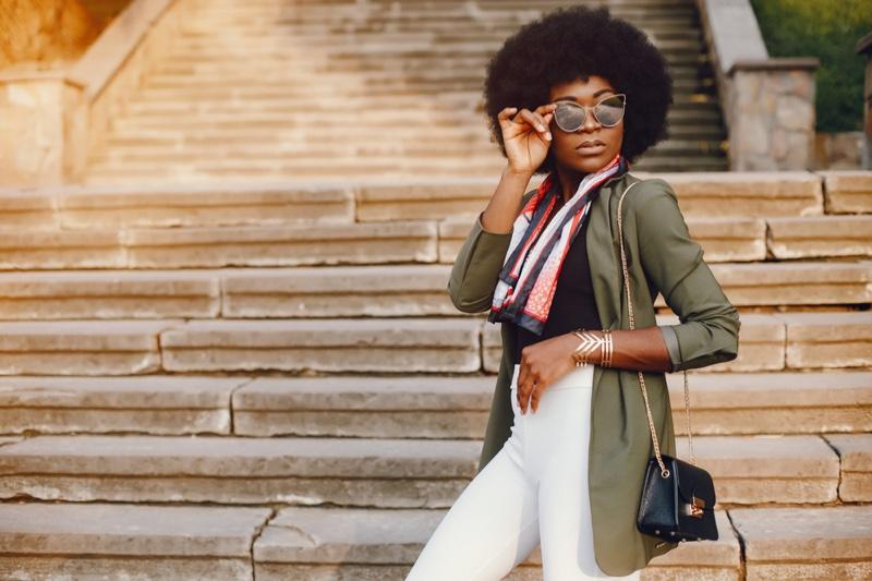 Black Model Afro Green Jacket White Pants Sunglasses