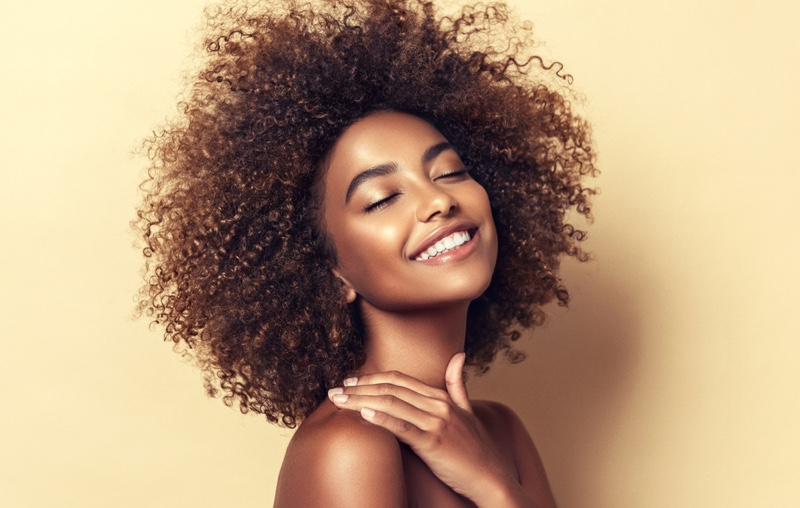 Black Model Curly Brown Natural Hair Smiling Beauty