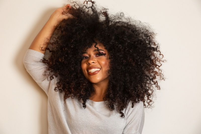 Black Woman Curly Hair Smiling