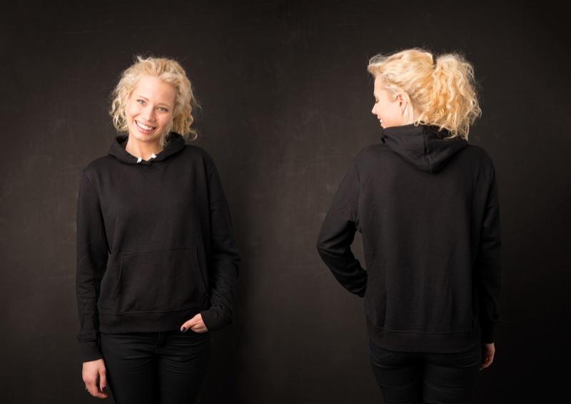 Blonde Woman Smiling Black Hoodie Pants Set