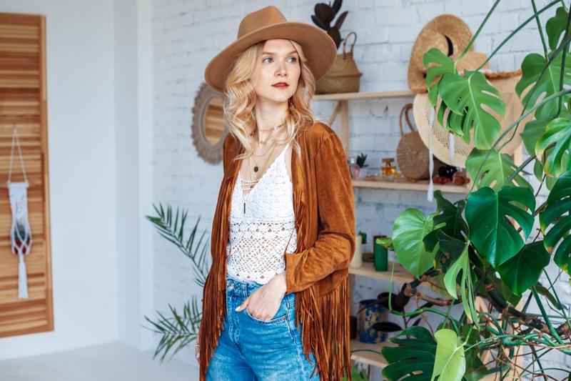 Bohemian Woman Home Plants Fringe Jacket Hat Jeans