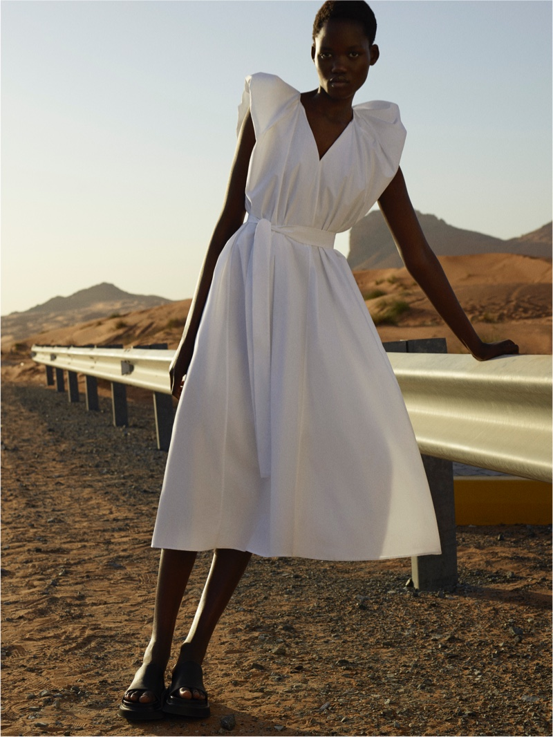 Model Caren Jepkemei poses for COS spring-summer 2021 campaign.