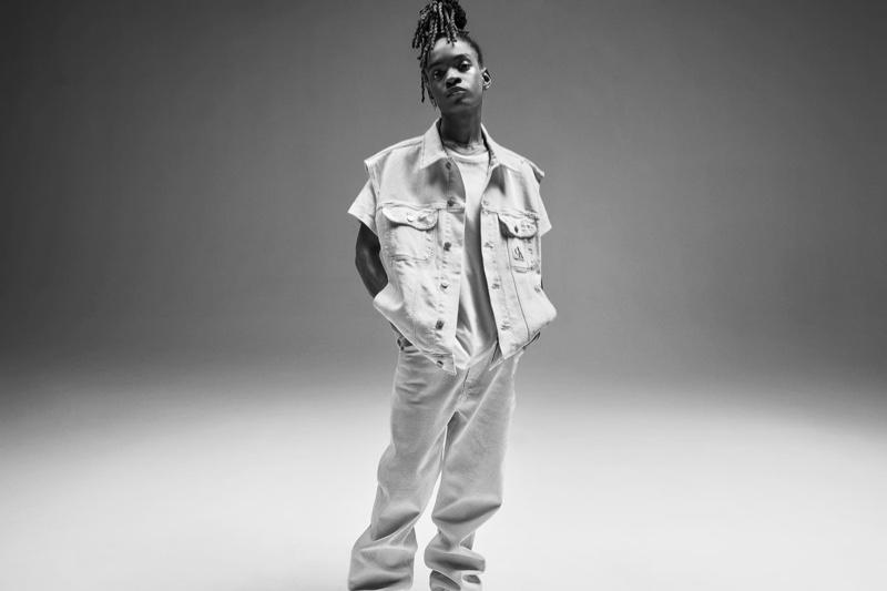 Koffee wears denim in Calvin Klein Blank Space spring 2021 campaign.