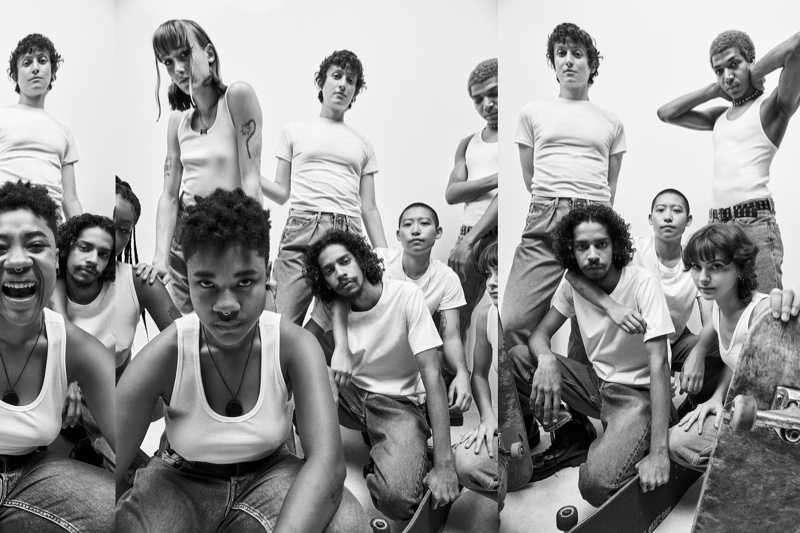 Skate collective Queer Skate LA poses for Calvin Klein spring 2021 campaign.