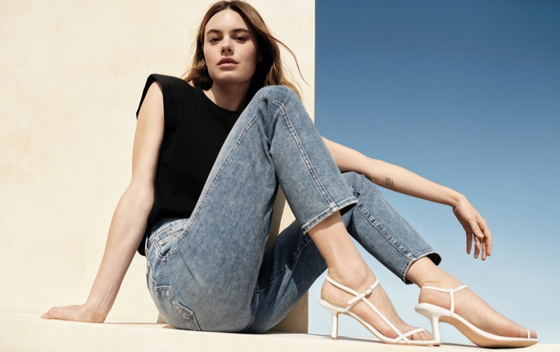 Rocking denim, Camille Rowe fronts 7 For All Mankind spring-summer 2021 campaign.