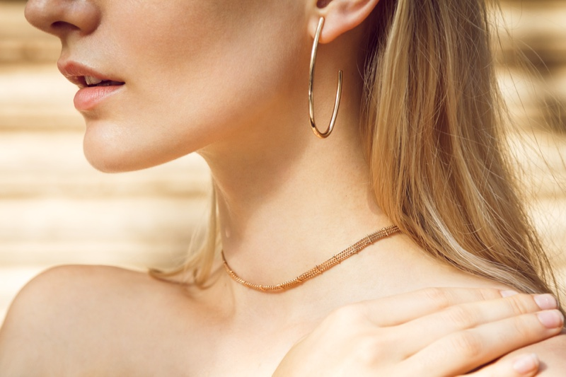 Closeup Model Gold Earring Necklace