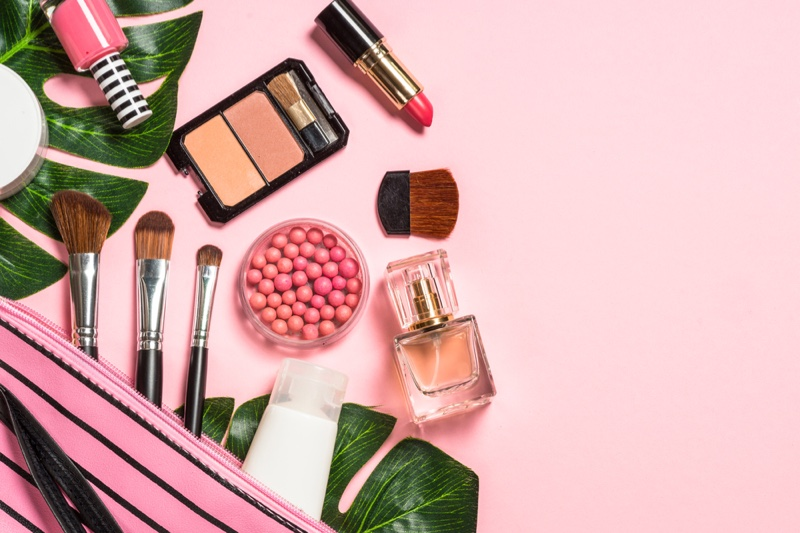 Cosmetics Makeup Beauty Products Pink Background