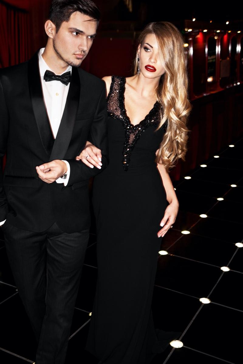 Couple Black Tie Style dress Tuxedo