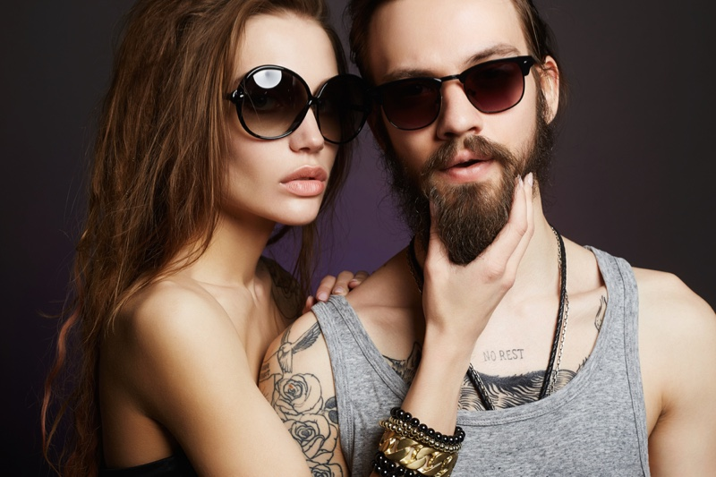 Couple Model Man Woman Sunglasses Jewelry Cool Style