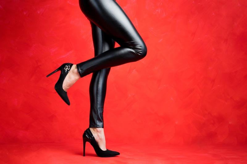 Cropped Faux Leather Leggings Black Heels