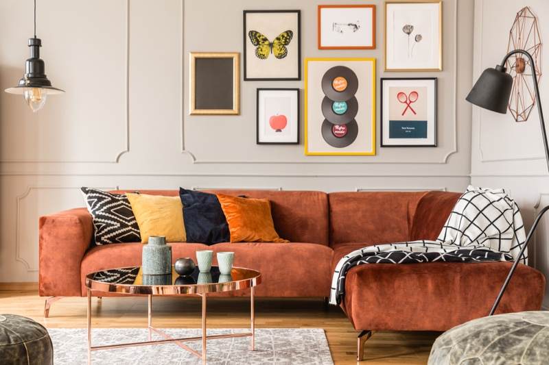 Eclectic Home Orange Couch Rug Pictures