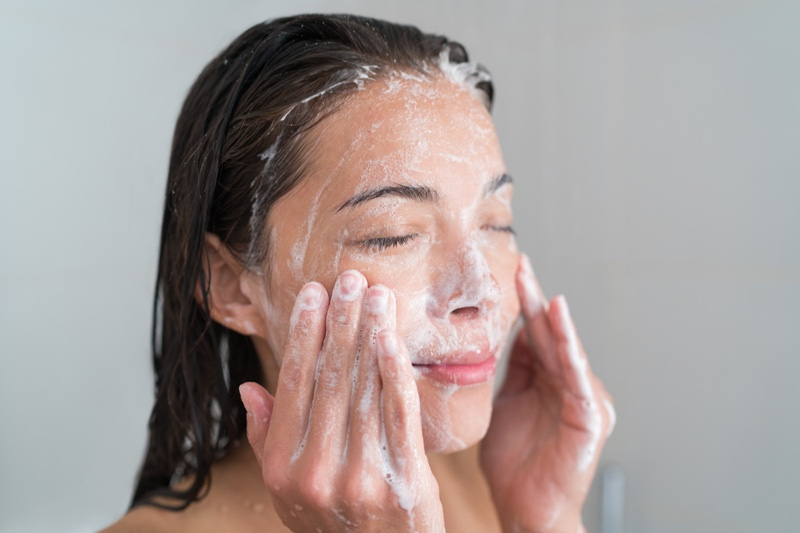 Face Wash Cleanser Woman Skin Closeup