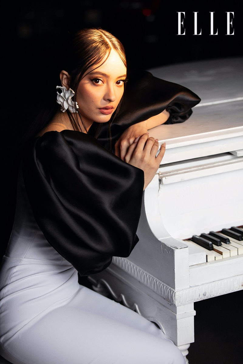 Singer Faouzia poses in designs from Lada Regina and Rasario. Photo: Sid Rane