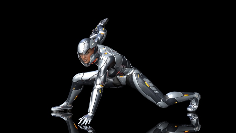Futuristic Woman Female Silver Armor Android