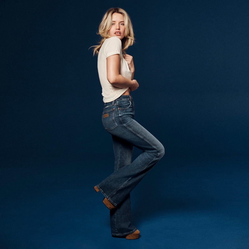Georgia May Jagger appears in Wrangler Heritage Collection spring-summer 2021 campaign.