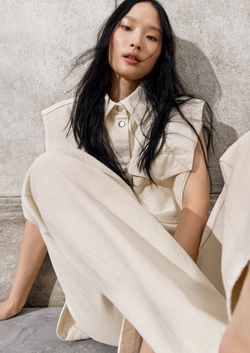 Model Yoonmi Sun poses for H&M spring 2021 campaign.