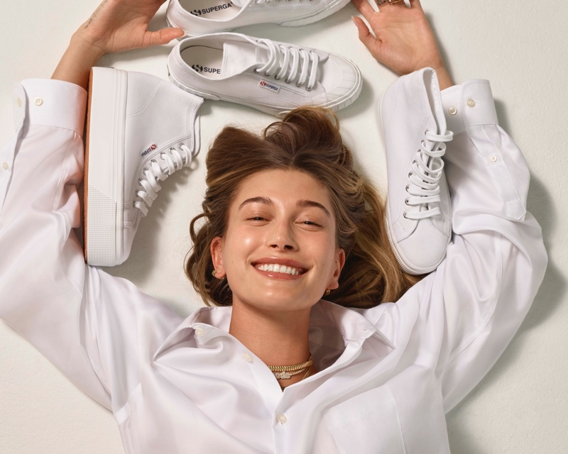 All smiles, Hailey Bieber fronts Superga spring-summer 2021 campaign.