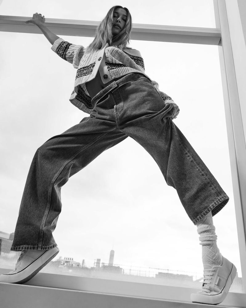 Posing in black and white, Hailey Bieber appears in Superga spring-summer 2021 campaign.
