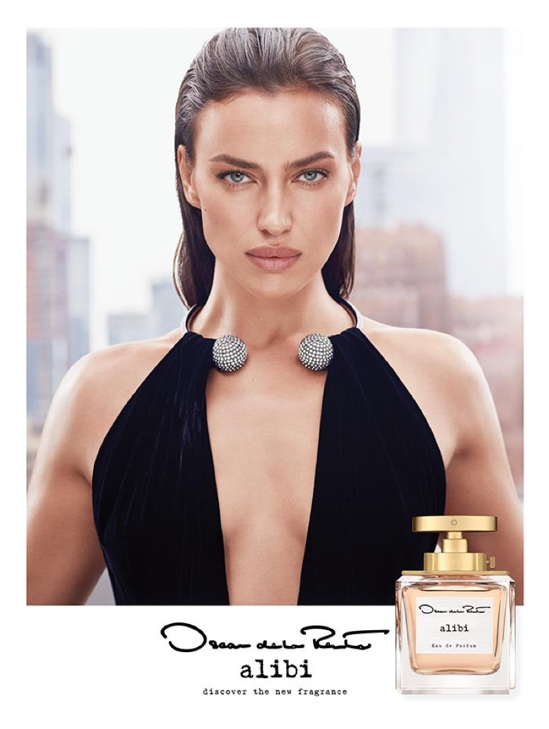 Irina Shayk stars in Oscar de la Renta Alibi fragrance campaign.