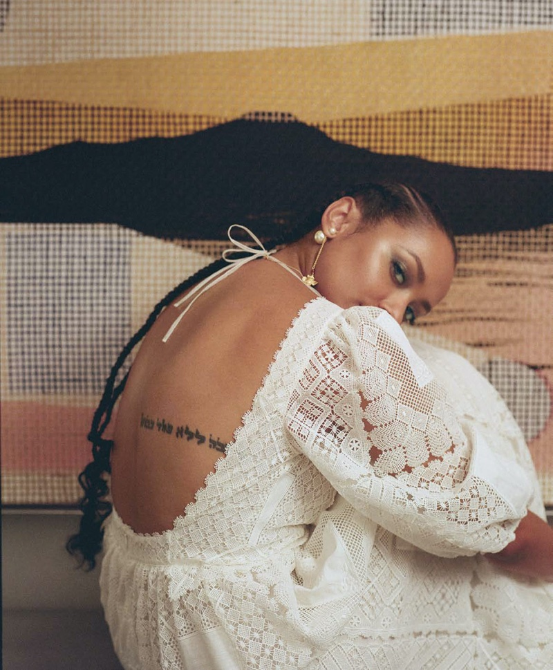 Showing off her back tattoo, Kat Graham wears white dress from Dior. Photo: Tiffany Nicholson