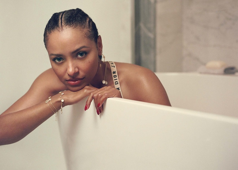 Posing in a bath tub, Kat Graham wears Dior bralette and jewelry. Photo: Tiffany Nicholson