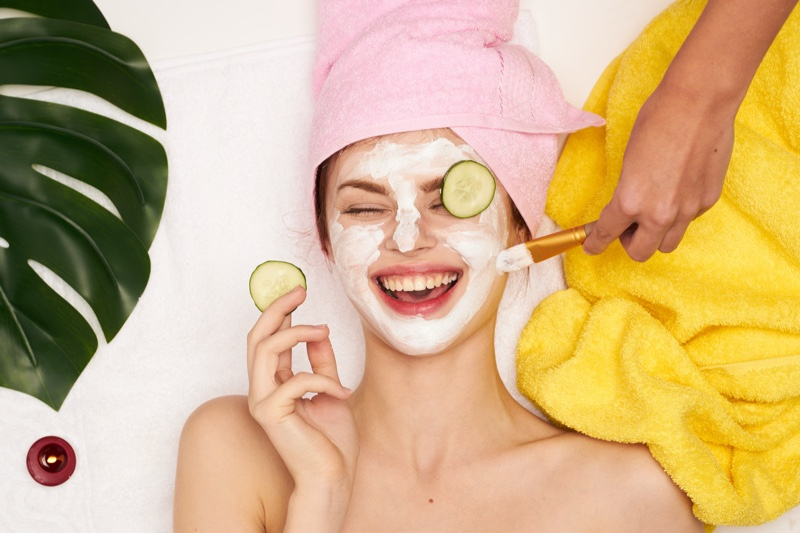 Laughing Model Face Mask Cucumbers Beauty Skin