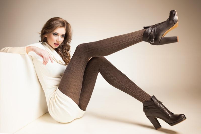 Long Legs Tights Knit Leggings White Dress Model