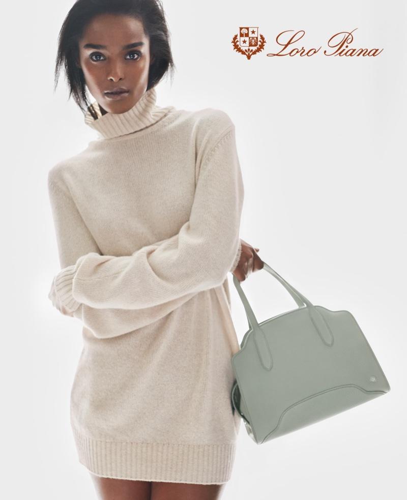 Malika Louback poses for Loro Piana spring-summer 2021 campaign.
