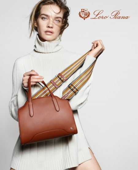 Natalia Vodianova wears chic knitwear in Loro Piana Sesia spring-summer 2021 campaign.
